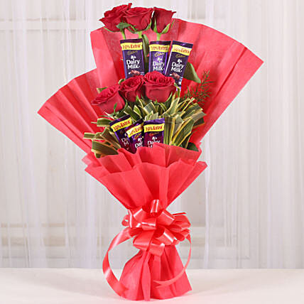 Chocolate Roses Bouquet chocolates choclates gifts:Valentine Flowers Gandhinagar