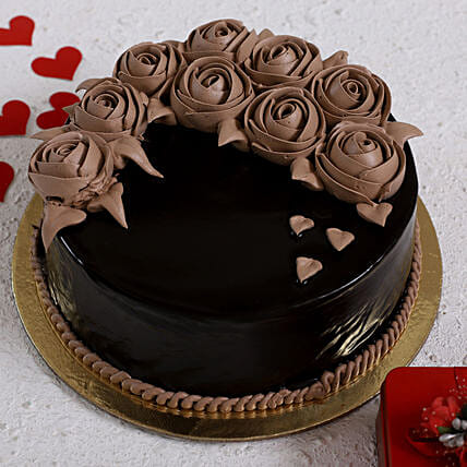 Chocolate Rose Designer Cake:Send Valentine Chocolate Cake