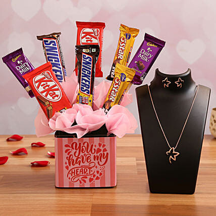 Chocolate Vase Arrangement & Necklace