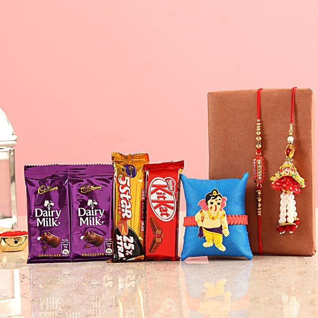 Chocolates With Rakhi For Bhai & Family:Family Rakhi Set