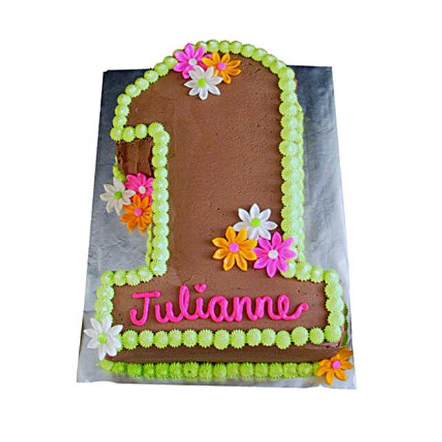 Chocolaty 1st Birthday Cake 3kg Eggless Butterscotch