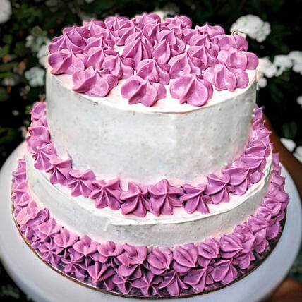 OnlineChocolaty 2 Tier Purple Cake:3 Tier Cake