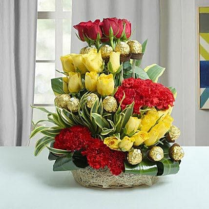 Special Chocolate Gift with Roses:Flowers for Gudi Padwa