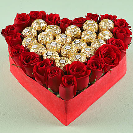 Chocolate and Rose Arrangement Online:Heart Shaped Flower Arrangements