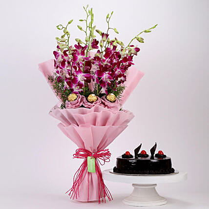 Online Truffle Cake and Ferrero Orchids Bouquet:Cakes and Chocolates