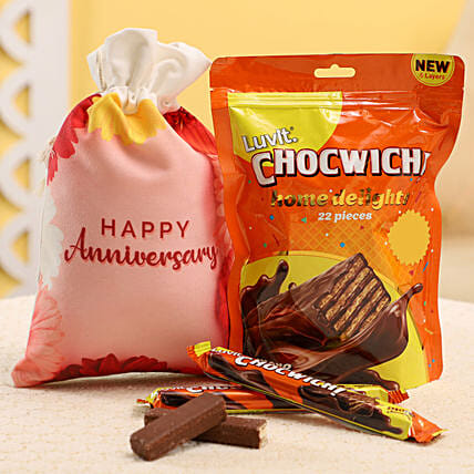Chocolate Gunny Bag For Anniversary:Send Luvit Chocolates