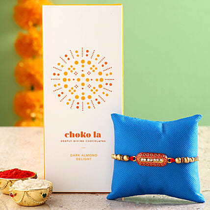 Online Almond Chocolate Bar And Rakhi
