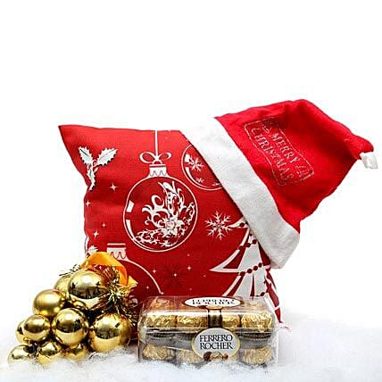 Christmas Hamper-cushion,cap,decorative hanging,200 grams Ferrero Rocher chocolate:Send Gifts to Mahe