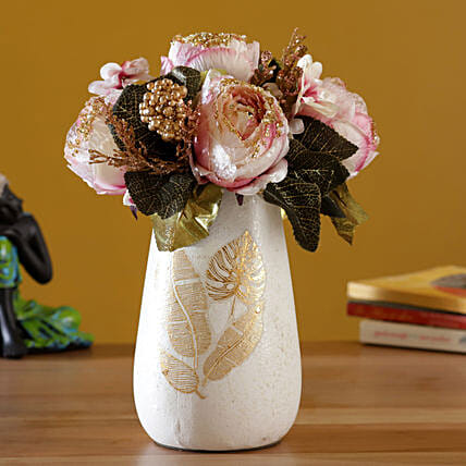 Elegant Artificial Peonies in Vase:Artificial Flowers