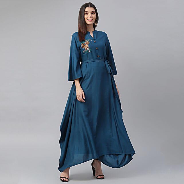 Classy Blue Straight Kurta Set:Apparel Gifts