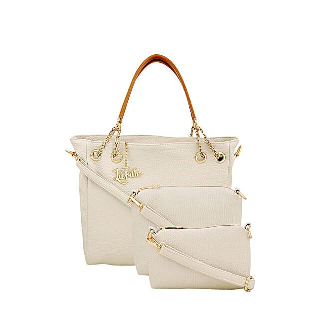 3 set of stylish white handbag