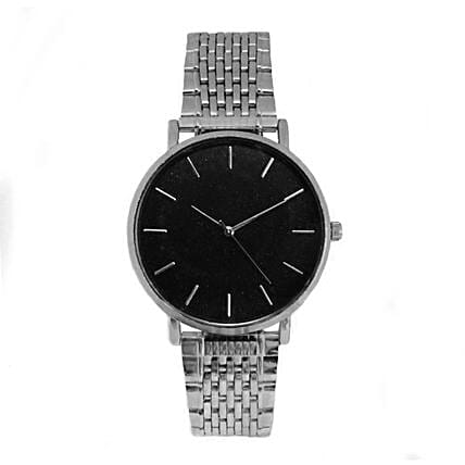 Online Nebula Black Dial Silver Watch For Mother's Day