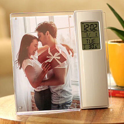 personalised clock photo frame:Gifts Delivery
