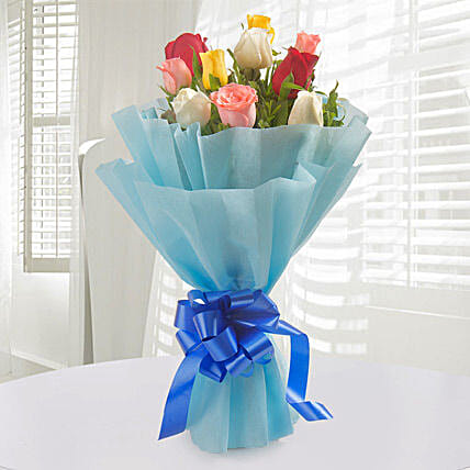 Colorful Hue - Bunch of 10 Mix roses.:Send Fathers Day Gifts to Mumbai