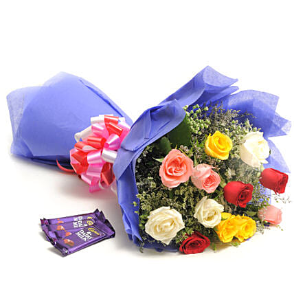 Colour Blast - Bunch of 12 Mix colour roses in paper packing with 4 Dairy Milk Chocolates (14gm each).