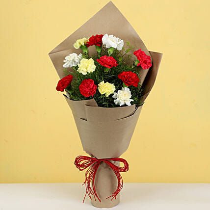 elegant white carnations bouquet for special friend