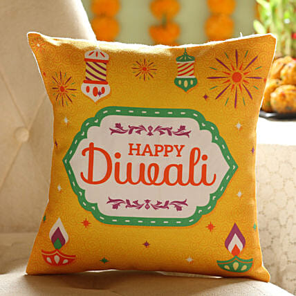 happy diwali wishes printed cushion