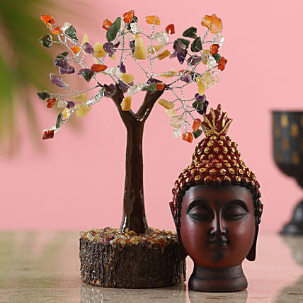 Colourful Gemstone Wish Tree & Brown Buddha Idol