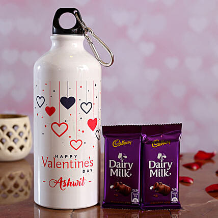 Colourful Hearts V Day Personalised Bottle and Cadbury Dairy Milk Hand Delivery