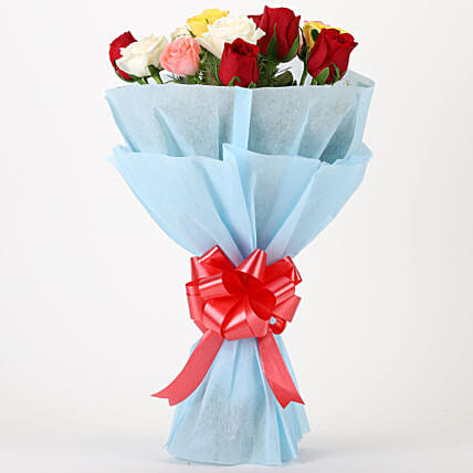 Bouquet of mixed roses gifts:Send Flower Bouquet For Anniversary