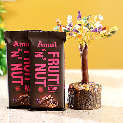 Colourful Stone Wish Tree & Amul Fruit N Nut