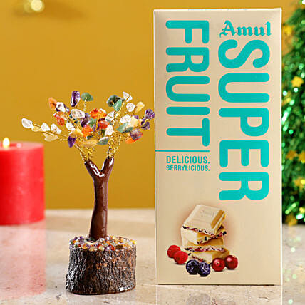 Colourful Stone Wish Tree & Amul Super Fruit Chocolate
