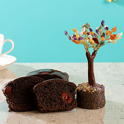 Colourful Stone Wish Tree Cherry Choco Dry Cake:Send New Year Gifts for Family