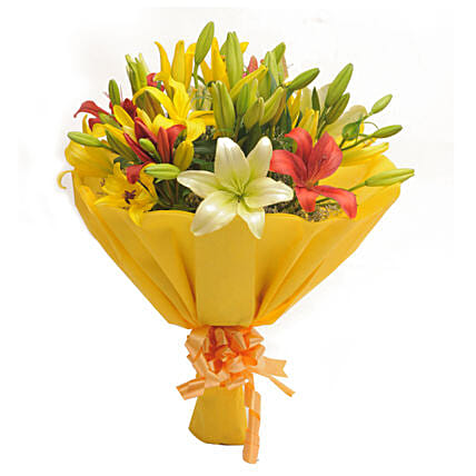 Colours Of Love - Bunch of 8 colorful asiatic lilies in yellow paper packing.