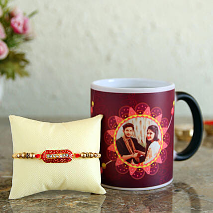 capsule rakhi with personalised mug combo