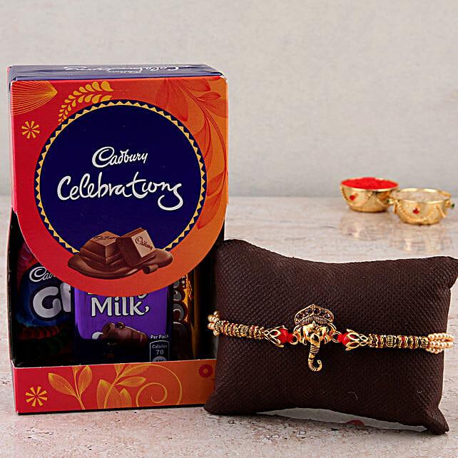 Ganesha rakhi with chocolates combo