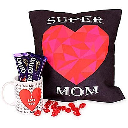 Coffee Hamper-12x12 inches Super Mom cushion,1 white ceramic coffee mug and 2 Cadbury Dairymilk chocolates 38 grams:Gift Hampers for Mother's Day