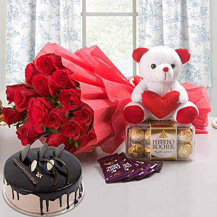 Complete Love Hamper - Bunch of 15 Red Roses with Soft toy, Ferrero Rocher, 5 Cadbury Chocolates and 500gm Chocolate Cake.:Cake and Teddy Bear Delivery