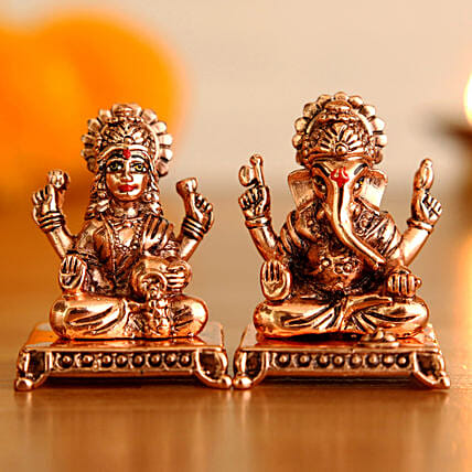 Copper Finish Lakshmi Ganesha Idol Set:Laxmi Ganesh Idol