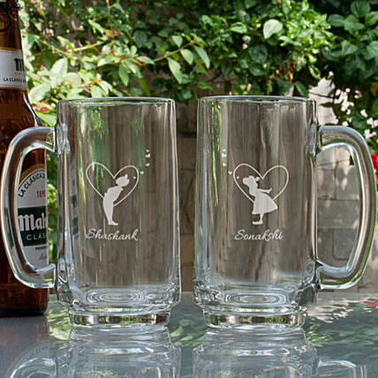 Customised Beer Mugs For Couple Online:Personalised Beer Glasses