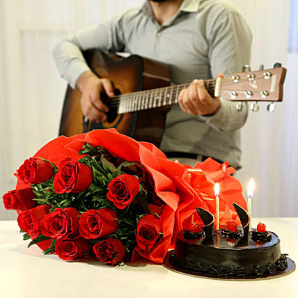 Chocolate Cake with Romantic Tunes Combo:Flowers & Guitarist Service