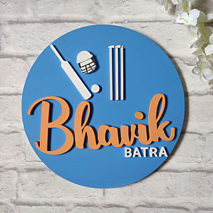 Wooden Nameplate for Cricket Lovers
