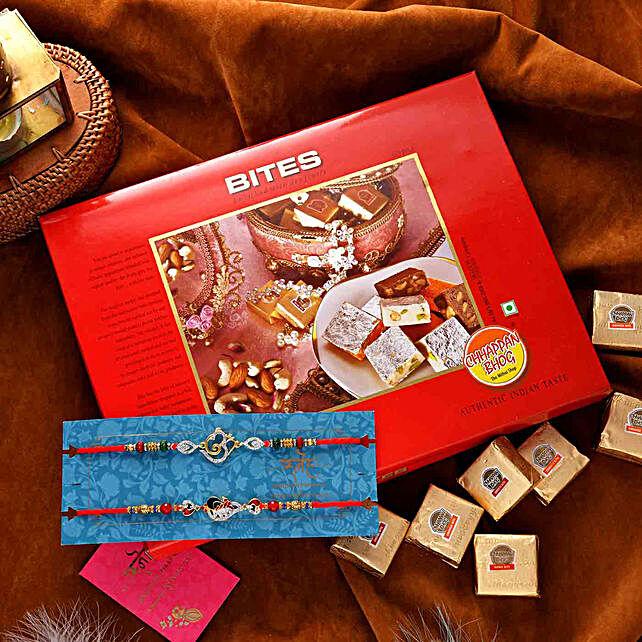 Crystal Om N Peacock Rakhi Set With Assorted Bites