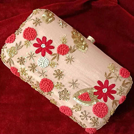 Customised Baby Pink Clutch 8 X 4 cms:Handbags and Wallets