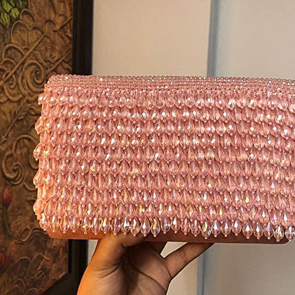 Customised Baby Pink Suede Clutch Bag