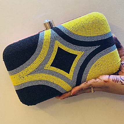 Customised Banarsi Silk Multi Colour Clutch Bag