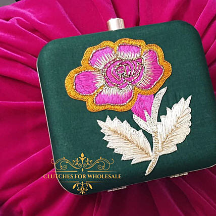 Customised Incredible Banarsi Silk Clutch:Women's Accessories