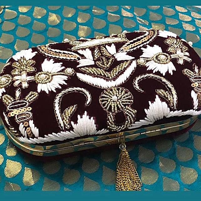 Customised Maroon Clutch Bag