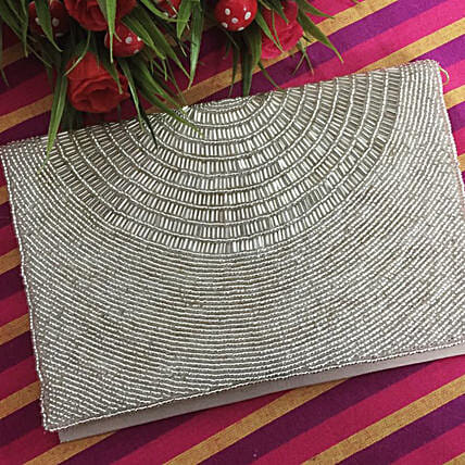 Customised Silver Clutch Bag