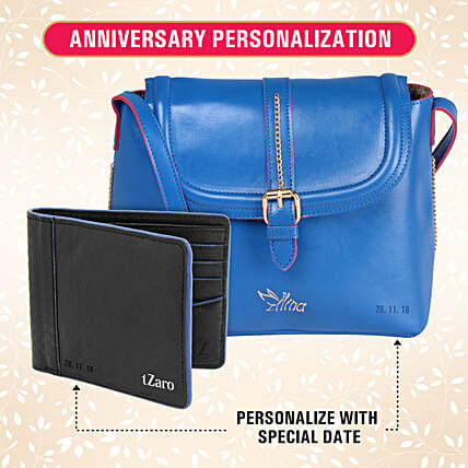 personalised sling bag n wallet for couple