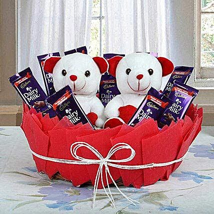 Cadbury Chocolate Basket with Teddy:Daughters Day Gift Ideas