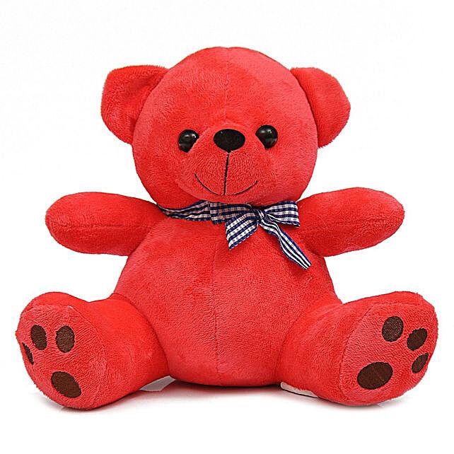 Cute & Cuddly Red Poppy Teddy Bear:Teddy Bears