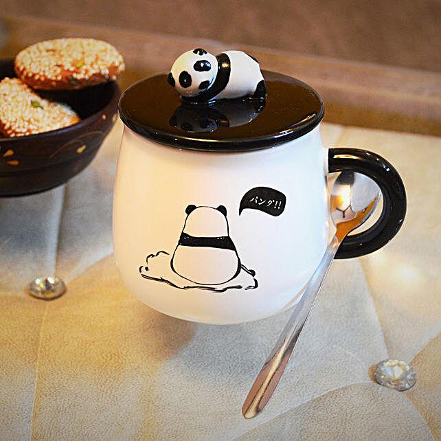 Cute Panda Coffee Mug With Ceramic Lid And Spoon