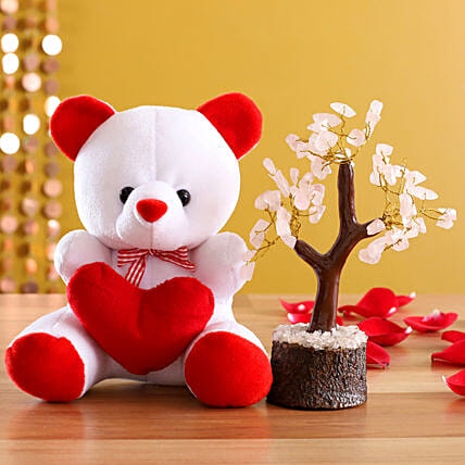 Cute Teddy Bear And Rose Quartz Wish Tree