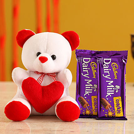 Valentines Teddy Bear & Chocolates for Wife:Promise Day Soft Toys