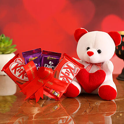 Valentines Special Chocolates & Teddy Bear for Her